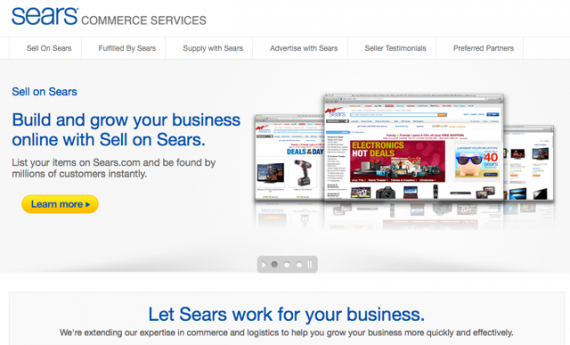 Sears.com offers three different services to third-party sellers: Advertise on Sears, Sell on Sears, and Fulfilled on Sears.